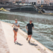 Coureurs sur les quais de Saône à Lyon